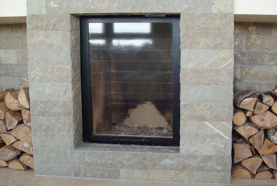 Marmor Spaltriemchen Kamin, Stein Schwarz